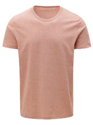 Tehlové pánske pruhované basic tričko Stanley & Stella