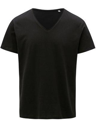 Čierne pánske basic tričko s véčkovým výstrihom Stanley & Stella