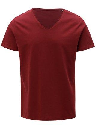 Vínové pánské basic tričko s véčkovým výstřihem Stanley & Stella