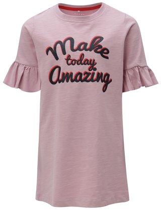 Ružové dievčenské šaty s volánmi na rukávoch name it Ville