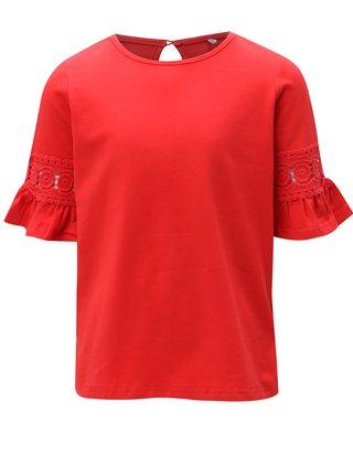 Červené holčičí tričko s krajkou na rukávech name it Kam