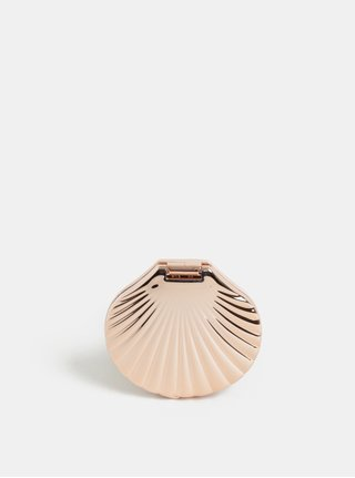 Oglinda compacta in forma de scoica de culoare roz-auriu Temerity Jones