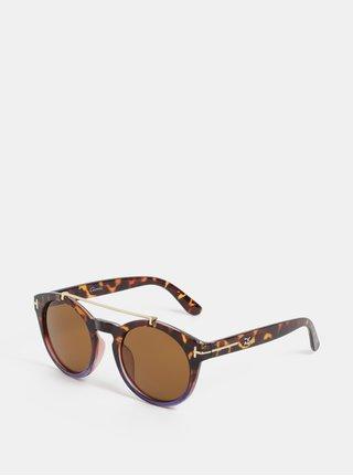 Fialovo-hnědé vzorované sluneční brýle s pouzdrem Gionni