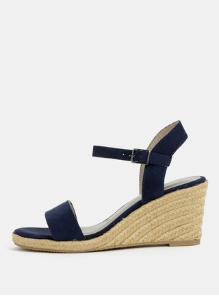 Sandale albastru inchis cu aspect de piele intoarsa Tamaris