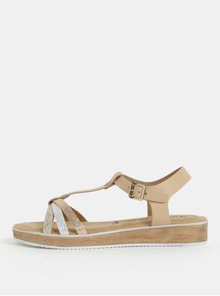 Sandale bej din piele naturala cu barete argintii si aurii Tamaris