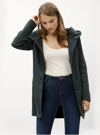 Tmavě zelený žíhaný kabát s kapucí ONLY Sedona