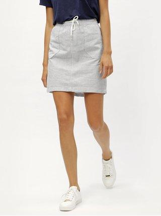 Modrá lněná sukně s elastickým pasem s.Oliver