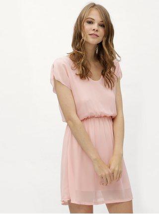 Rochie roz cu banda elastica in talie Haily´s Anika