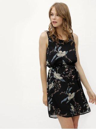 Černé květované šaty s krajkou na zádech Haily´s Jana