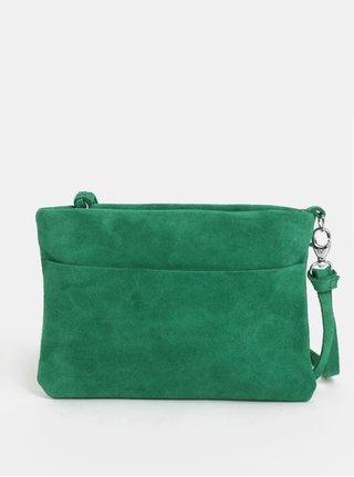 Zelená semišová listová kabelka so strapcom KOZAK Mia