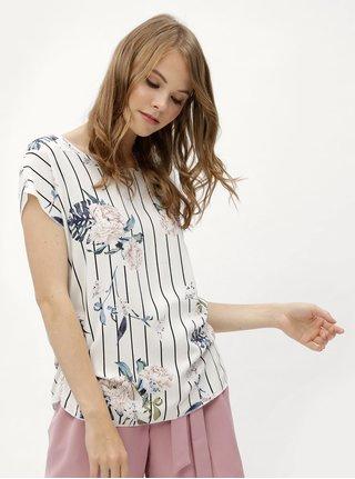 Biela kvetovaná blúzka so zberkaním na bokoch Haily´s Julie