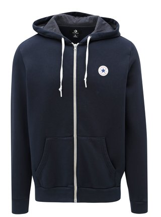 Modrá pánska mikina s kapucňou Converse Core Full-Zip Hoodie