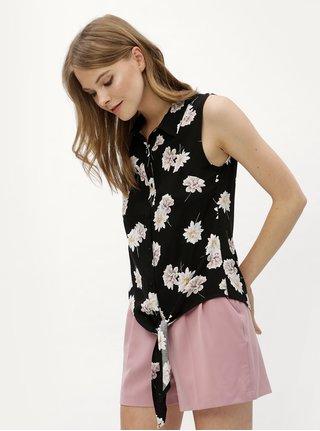 Černá květovaná halenka se zavazováním Haily´s Alison