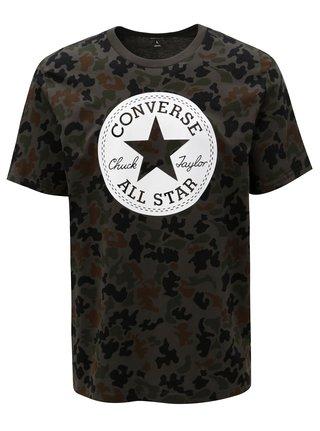 Kaki pánske maskáčové tričko s potlačou Converse Chuck Patch Camo