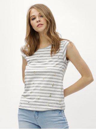 Bílo-šedé pruhované tričko s motivem kotev Haily´s Mick