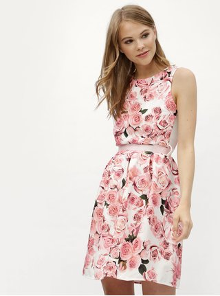 Rochie alb-roz cu model floral si panglica Haily´s Rosy