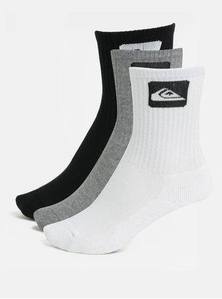 Súprava troch párov chlapčenských ponožiek v čiernej, sivej a bielej farbe Quiksilver