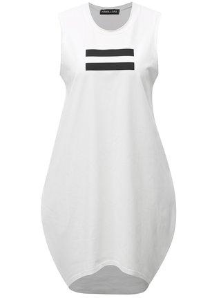 Bílé balónové šaty s černým potiskem Mikela da Luka