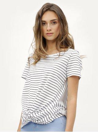 Biele pruhované tričko s uzlom ONLY Jamie
