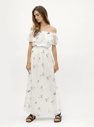 Biele kvetované maxišaty s odhalenými ramenami Dorothy Perkins
