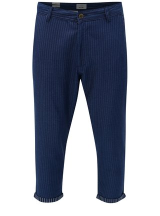 Pantaloni crop albastru inchis in dungi ONLY & SONS Beam
