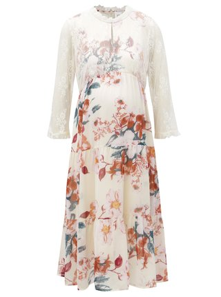 Krémové kvetované tehotenské šaty s čipkou Mama.licious Veronica