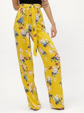Pantaloni galbeni lejeri cu model floral, talie inalta si cordon in talie Dorothy Perkins Tall