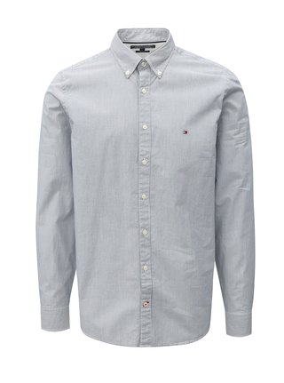 6b9cf39857a Bílo-modrá pánská slim fit pruhovaná košile Tommy Hilfiger