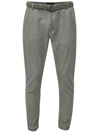 Pantaloni barbatesti chino verzi in dungi cu cordon Broadway Fendi