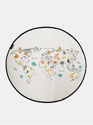 Béžová deka na hraní s potiskem mapy Butter Kings