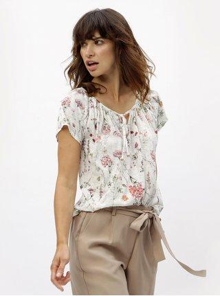 Tricou alb cu model floral si paiete M&Co