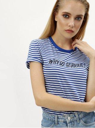 Bielo–modré pruhované tričko s výšivkou Jacqueline de Yong Tolla