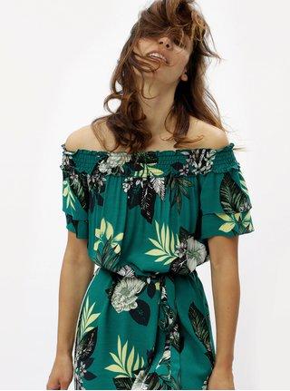 Rochie verde cu model floral si decolteu pe umeri Dorothy Perkins