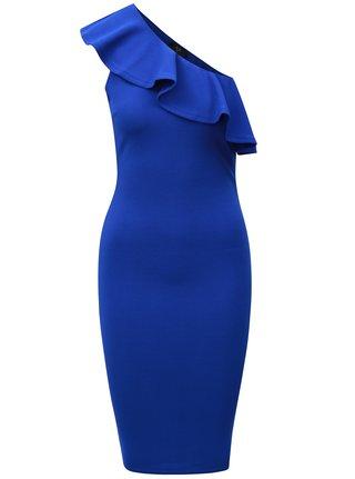 Modré asymetrické šaty s volánom AX Paris