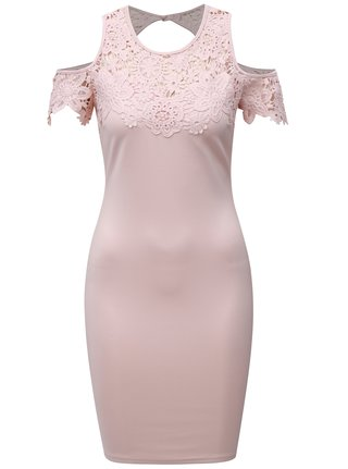 Svetloružové puzdrové šaty s čipkou a prestrihmi na ramenách AX Paris