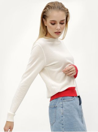 Krémový dámsky sveter s prímesou vlny Calvin Klein Jeans Sheldon