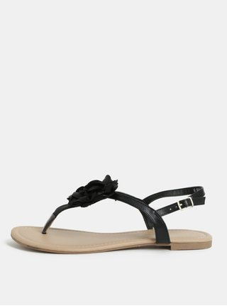 Sandale negre cu aplicatie in forma de flori Dorothy Perkins