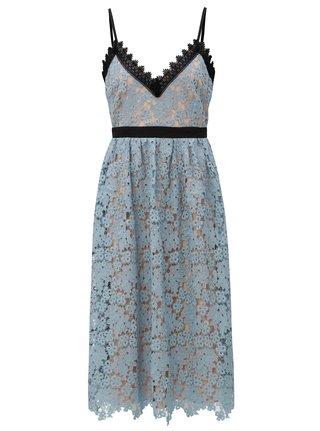 Telovo–modré čipkované šaty Little Mistress