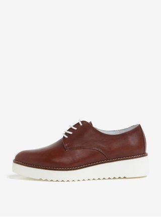 Pantofi maro inchis din piele cu platforma OJJU KRON