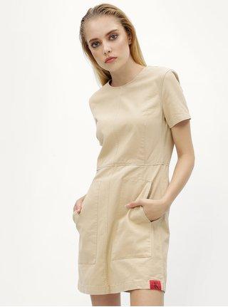 Béžové šaty s kapsami Calvin Klein Jeans Dani