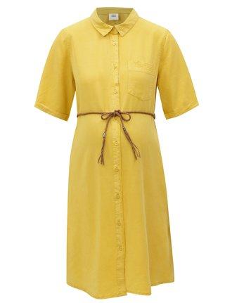 Horčicové tehotenské košeľové šaty s vreckom Mama.licious