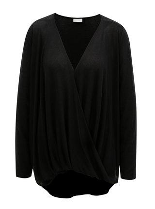 Černé tričko s překládanou přední částí VILA Nexa