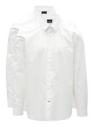 Sada dvou bílých tailored fit košil Burton Menswear London