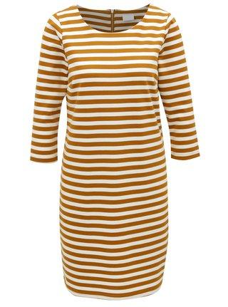 Hořčicovo-krémové pruhované šaty VILA Vitinny