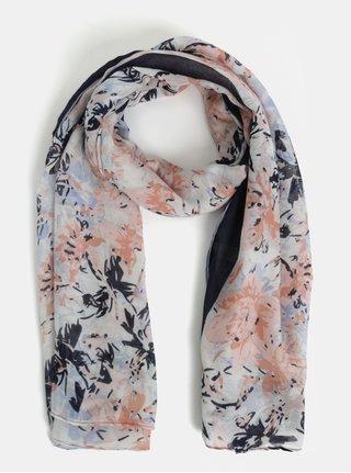 Růžovo-bílý květovaný šátek Pieces