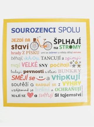 Žluto-bílý plakát HEZKÝ SVĚT Sourozenci