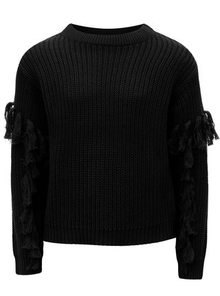 Černý holčičí svetr s třásněmi na rukávech LIMITED by name it