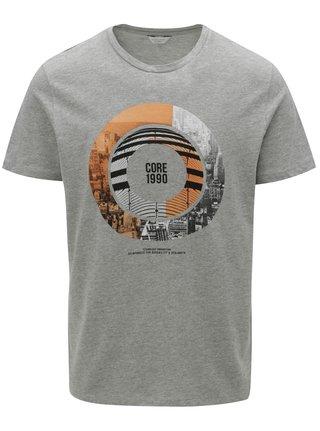 Sivé melírované tričko s potlačou Jack & Jones