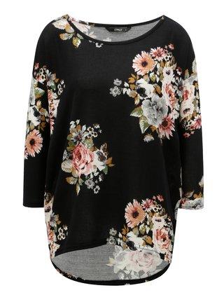 Čierne vzorované oversize tričko s 3/4 rukávom ONLY Elcos
