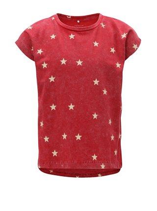 Červené dievčenské vzorované tričko Name it Fluvva
